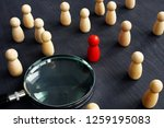 wooden figures and magnifying... | Shutterstock . vector #1259195083