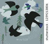 birds soaring among the snow...   Shutterstock .eps vector #1259213806
