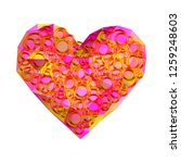 pink heart with with gold... | Shutterstock .eps vector #1259248603