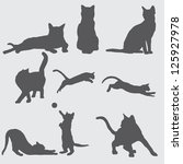 Stock vector  cat silhouettes 125927978