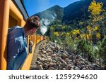 young man looking out of train... | Shutterstock . vector #1259294620