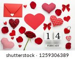 red fabric heart with cube... | Shutterstock . vector #1259306389