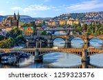 Small photo of Manes Bridge, Charles Bridge and Legion Bridge view in Prague, Czech Republic