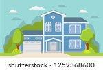classical suburban american... | Shutterstock .eps vector #1259368600