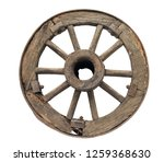 Old Wooden Wheel On A White...
