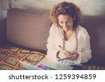 modern woman manager freelance... | Shutterstock . vector #1259394859