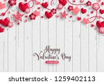 Stock vector happy saint valentine s day card horizontal border of holiday objects on wooden background 1259402113