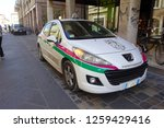Small photo of Peugeot 207 is 5-door hatchback car of Cittadini dell'Ordine S.p.A. Private Security Company. Rimini, Italy, 2014. Vehicles and top flight technologies are used to transport cash or valuables.