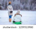 little adorable girls sledding... | Shutterstock . vector #1259513980