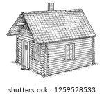 log wood house illustration ... | Shutterstock .eps vector #1259528533