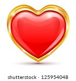 red heart in golden frame on a... | Shutterstock . vector #125954048