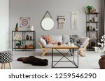 stylish wooden coffee table in... | Shutterstock . vector #1259546290