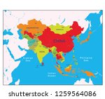 map of asia and its countries | Shutterstock .eps vector #1259564086