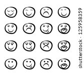 icon set of cartoon faces in a ...   Shutterstock .eps vector #125958359