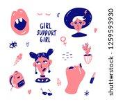 set of funny cartoon feminine... | Shutterstock .eps vector #1259593930