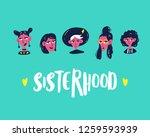 sisterhood. group cute cartoon... | Shutterstock .eps vector #1259593939
