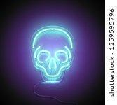 Neon Sign. Retro Neon Skull...