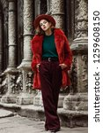 outdoor full body fashion... | Shutterstock . vector #1259608150