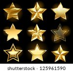 set of gold  fine stars on a... | Shutterstock .eps vector #125961590
