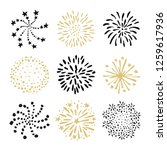 set of hand drawn fireworks and ... | Shutterstock .eps vector #1259617936