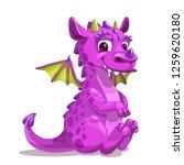 little cute cartoon purple baby ... | Shutterstock .eps vector #1259620180