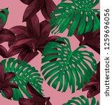 tropical  leaves  monstera leaf ... | Shutterstock .eps vector #1259696056
