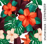 seamless floral pattern with... | Shutterstock .eps vector #1259696059