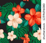 seamless floral pattern with... | Shutterstock .eps vector #1259696080
