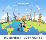 traveling around the world... | Shutterstock .eps vector #1259703463