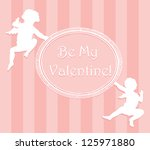 valentine card with cupids and... | Shutterstock .eps vector #125971880