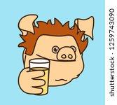 emoticon or emoji of thirsty... | Shutterstock .eps vector #1259743090