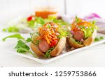 hot dog with  cucumber  carrot  ... | Shutterstock . vector #1259753866