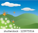 colourful butterflies and... | Shutterstock .eps vector #125975516