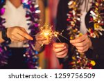 group of friends staff party... | Shutterstock . vector #1259756509