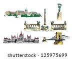 budapest vector drawings  ... | Shutterstock .eps vector #125975699