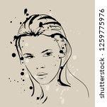 fashion girls face. woman face. ... | Shutterstock .eps vector #1259775976