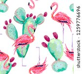 pink flamingo  exotic birds ... | Shutterstock .eps vector #1259776696