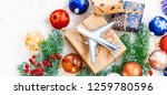 christmas background on the... | Shutterstock . vector #1259780596