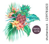 pineapple  exotic flowers  palm ... | Shutterstock .eps vector #1259781823