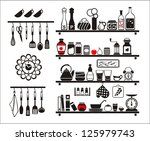 vector black food and drinks...   Shutterstock .eps vector #125979743