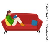 a girl reading a book on the... | Shutterstock .eps vector #1259803459