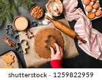 preparation of gingerbread man... | Shutterstock . vector #1259822959