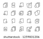 Stock vector set of document icons such as files checkmark find search paper 1259831206