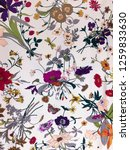 Stock photo seamless pattern with flowers butterfly dragonfly fabric textures 1259833630
