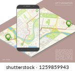 city map route navigation... | Shutterstock .eps vector #1259859943