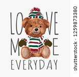 typography slogan with toy bear ... | Shutterstock .eps vector #1259873380