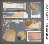 set of old vintage grunge torn... | Shutterstock .eps vector #125988140