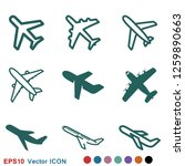 plane icon on white background  ... | Shutterstock .eps vector #1259890663