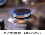 gas stove with blue flame.... | Shutterstock . vector #1259892433
