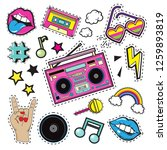 fashion patch badges with tape...   Shutterstock .eps vector #1259893819